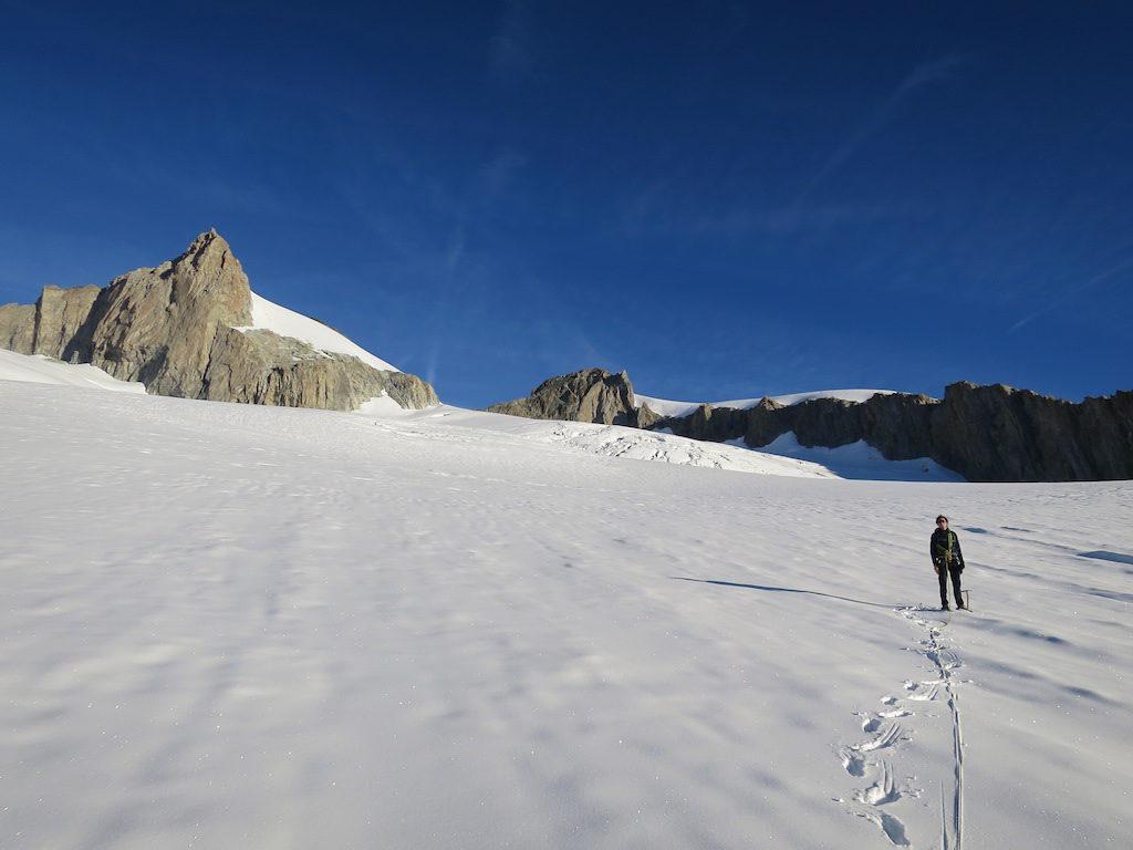 Neuschnee auf dem ersten Gletscherplateau